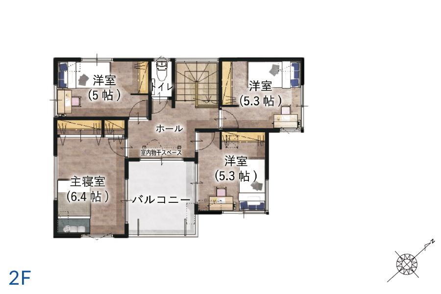 千葉市中央区の新築一戸建て「アラ・ラ椿森」間取り図3 2階